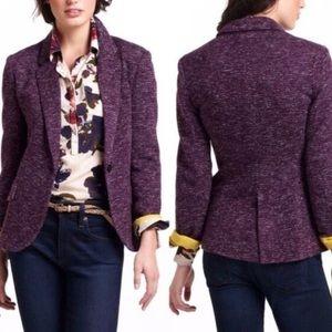Anthro Cartonnier Dashes Purple Knit Blazer